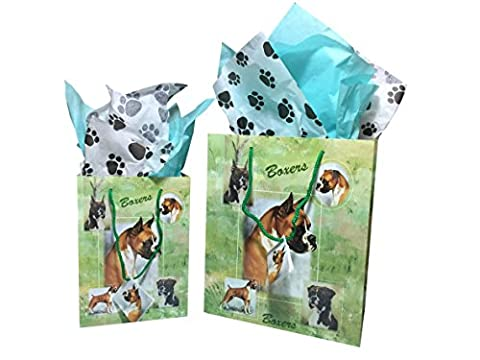 Dog Breed Gift Bags Set of Two with Tissue Paper (Boxer) - Golden Retriever Wrapping Paper
