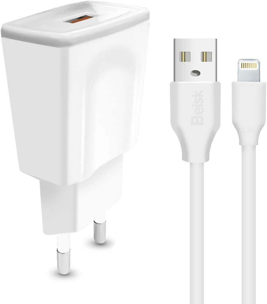 BEISK Cargador USB Pared con Cable Lightining, 1M, con Un Puerto de Salida USB DC5V / 2.4A y 240V, Enchufe Europe para Dispositivos iOS como iPhone, Ipads,etc. Color Blanco