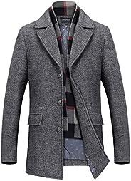 INVACHI Men's Slim Fit Winter Warm Short Woolen Coat Business Jacket with Free Detachable Soft Touch Wool