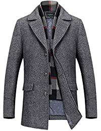Men s Slim Fit Winter Warm Short Wool Blend Coat Business Jacket with Free  Detachable Soft Touch f4c5a069ca