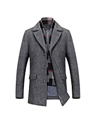 INVACHI Men's Slim Fit Winter Warm Short Woolen Coat Business Jacket with Free Detachable Soft Touch Wool Scarf