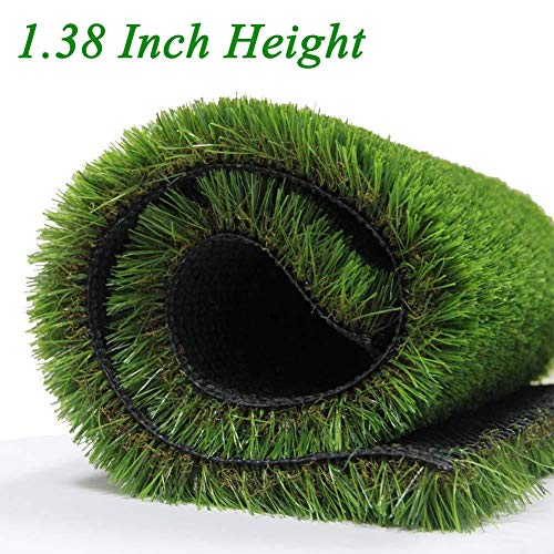 GL Premium 35mm Pile Height Artificial Grass, Realistic and Thick Fake Faux Grass Mat, Outdoor Garden Dog Pet Synthetic Grass, Carpet Doormat Rubber Backed with Drainage Holes 6 FT x10 FT/60 Square FT ()