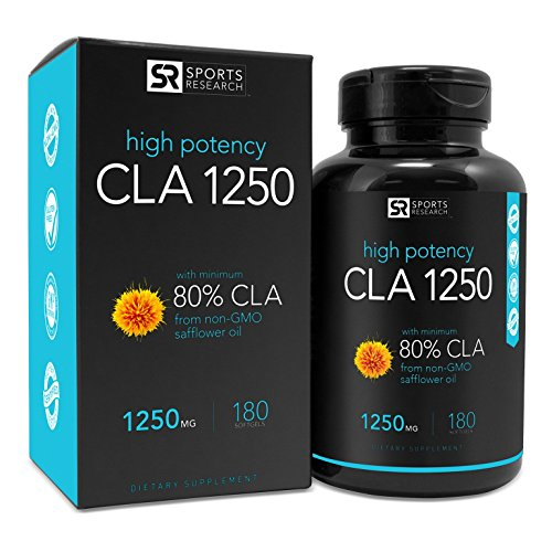 CLA 1250 (Highest Potency) 180 Veggie Softgel Capsules. Vegan Safe, non-GMO and Gluten Free Natural Weightloss Supplement - Made in USA