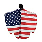 Winsummer Prop Soft Fabric 4th of July USA Flag Butterfly Wings Shawl Fairy Costume Summer Cover up Beach Kimono (Red)