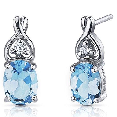 Swiss Blue Topaz Earrings Sterling Silver Rhodium Nickel Finish 250 Carats Classic Style - Swiss Blue Topaz Earrings