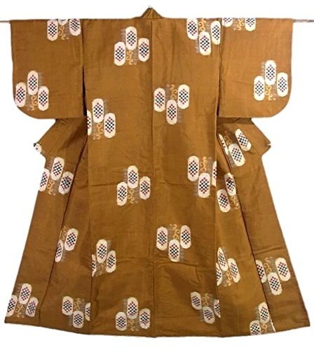 解明する特殊インデックスアンティーク 着物 銘仙 唐草に幾何学模様 正絹 袷 裄60cm 身丈140cm
