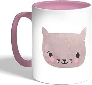 happy cat Printed Coffee Mug, Pink Color