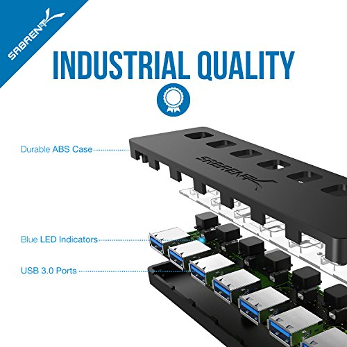 Sabrent 7-Port USB 3.0 Hub with Individual Power Switches and LEDs included 12V/4A power adapter (HB-UMA7) by Sabrent (Image #6)