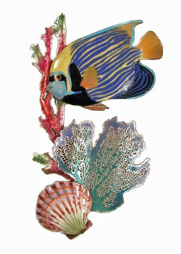 - Wall Art - Emperor Angelfish with Coral Metal Wall Sculpture - Angel Fish - Nautical Decor - Coastal Wall Decor
