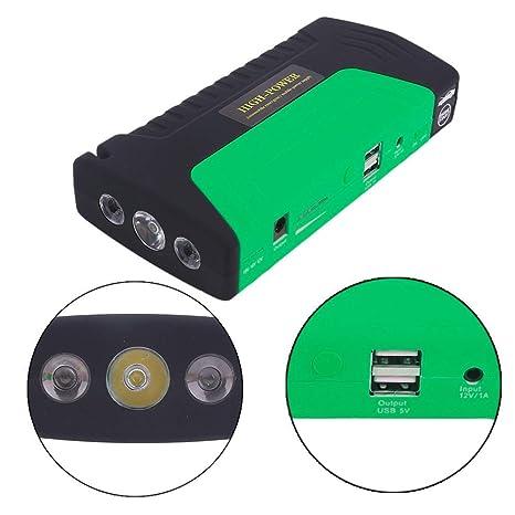 WANGTAO Coche De Arranque Portátil 400 9000Mah Emergencia Batería Booster con 2 Salida De Carga USB