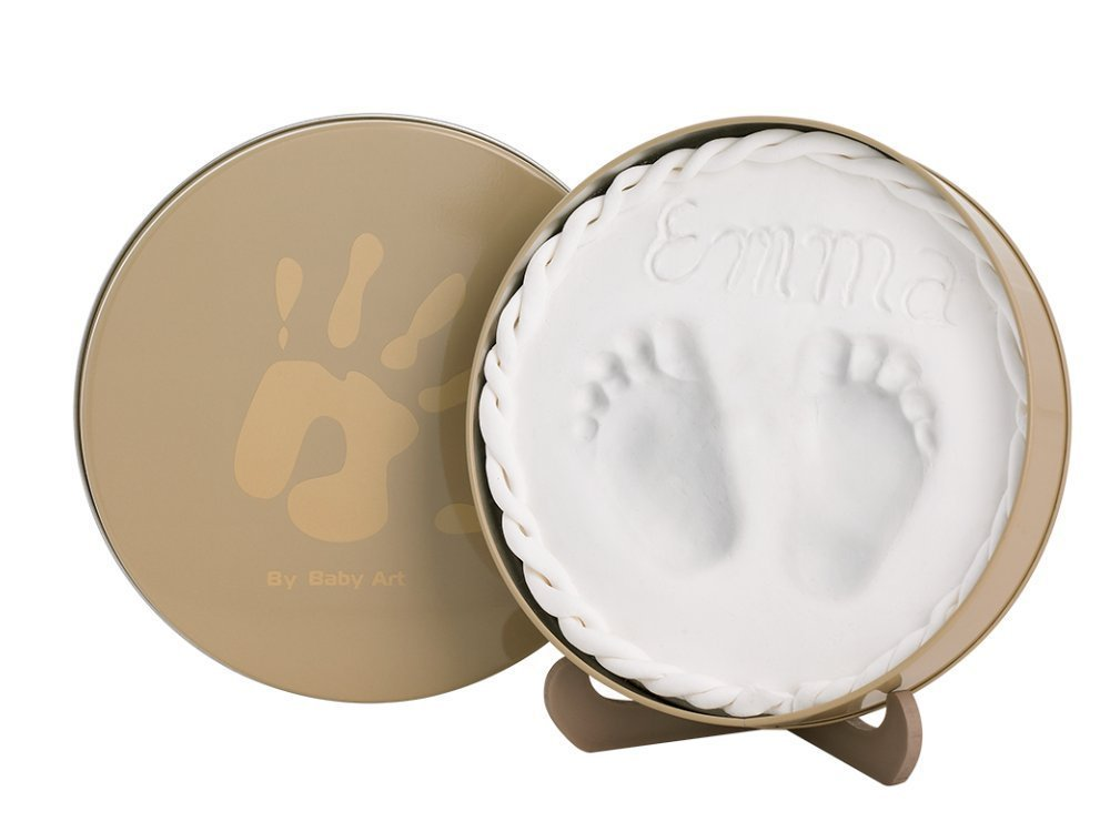 Baby Art Magic Box Baby Hand/Footprint Casting Tin - Includes 2 Animal Door Jammers - Original babieswithlove