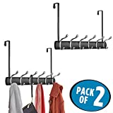 mDesign Over Door 12 Hook Steel Storage Organizer Rack for Coats, Hoodies, Hats, Scarves, Purses, Leashes, Bath Towels & Robes - Pack of 2, Matte Black/Chrome