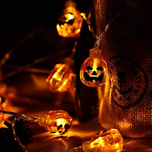 Qedertek Halloween String Lights, 3D Pumpkin Halloween Lights, 20 LED 9.08ft Decorative Light, Waterproof for Indoor and Outdoor, Patio, Psrty, Festival, Halloween Decorations(Warm -