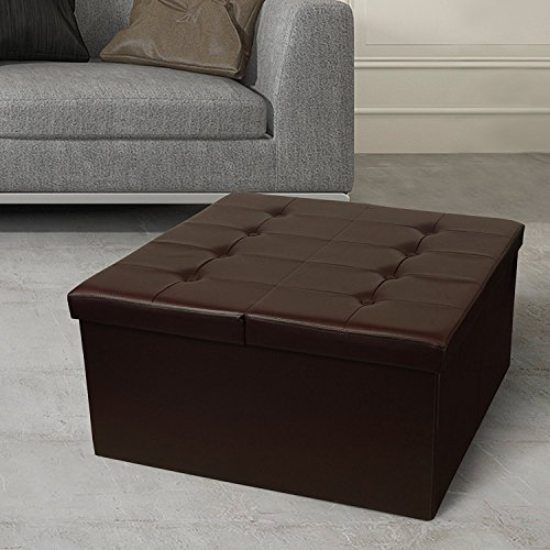 "Otto & Ben 30"" Storage Coffee Table with Smart Lift Top Tufted Folding Faux Leather Trunk Ottomans Bench Foot Rest, Chocolate"