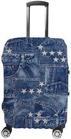 スーツケースカバー デニム 星柄 伸縮素材 キャリーバッグ お荷物カバ 保護 傷や汚れから守る ジッパー 水洗える 旅行 出張 S/M/L/XLサイズ