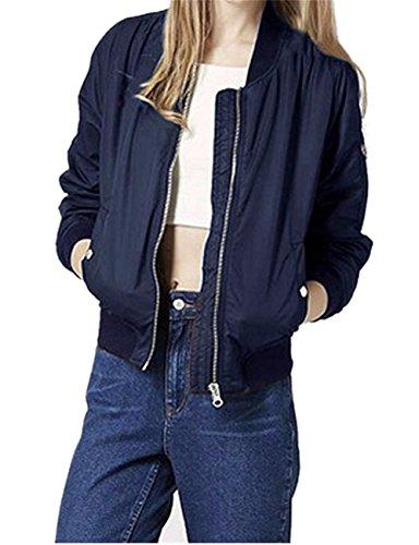 Fortuning's la de del chaqueta para las largo Azul manga JDS de bombardero la de mujeres de Abrigo moda la Profundo vendimia la larga zt4wqtrY
