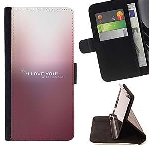BullDog Case - FOR/Samsung Galaxy S4 IV I9500 / - / I LOVE YOU /- Monedero de cuero de la PU Llevar cubierta de la caja con el ID Credit Card Slots Flip funda de cuer