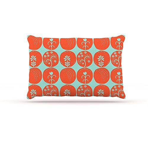 Kess InHouse Anneline Sophia Dotty Papercut orange  Fleece Dog Bed, 50 by 60 , Circles Teal