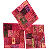 Set Of 3 Boho Decorative Indian Throw Pillow Cases Pink Cotton Embroidered Patchwork Cushion Cover 16 x 16