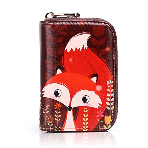 APHISON RFID Credit Card Holder Wallets for Women Leather Cartoon Patterns Zipper Card Case for Ladies Girls/Gift Box 013