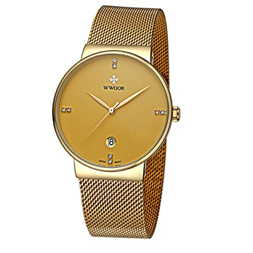 WWOOR Gent Casual Date Quartz Wrist Watches Mesh Stainless steel Band Waterproof Watch For Men Elite Ultra Thin Clock WR18 (Golden)