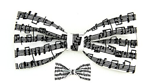 amy2004marie Musical Notes Black/White Bow Tie, 4.5 x 2.5 (Novelty Mens Tie Clothing)