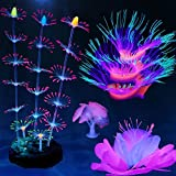 HIKTQIW 4 Pack Silicone Glowing Fish Tank Decorations Plants with Simulation Glowing Sucker Coral Sea Anemone Coral Fluoresce