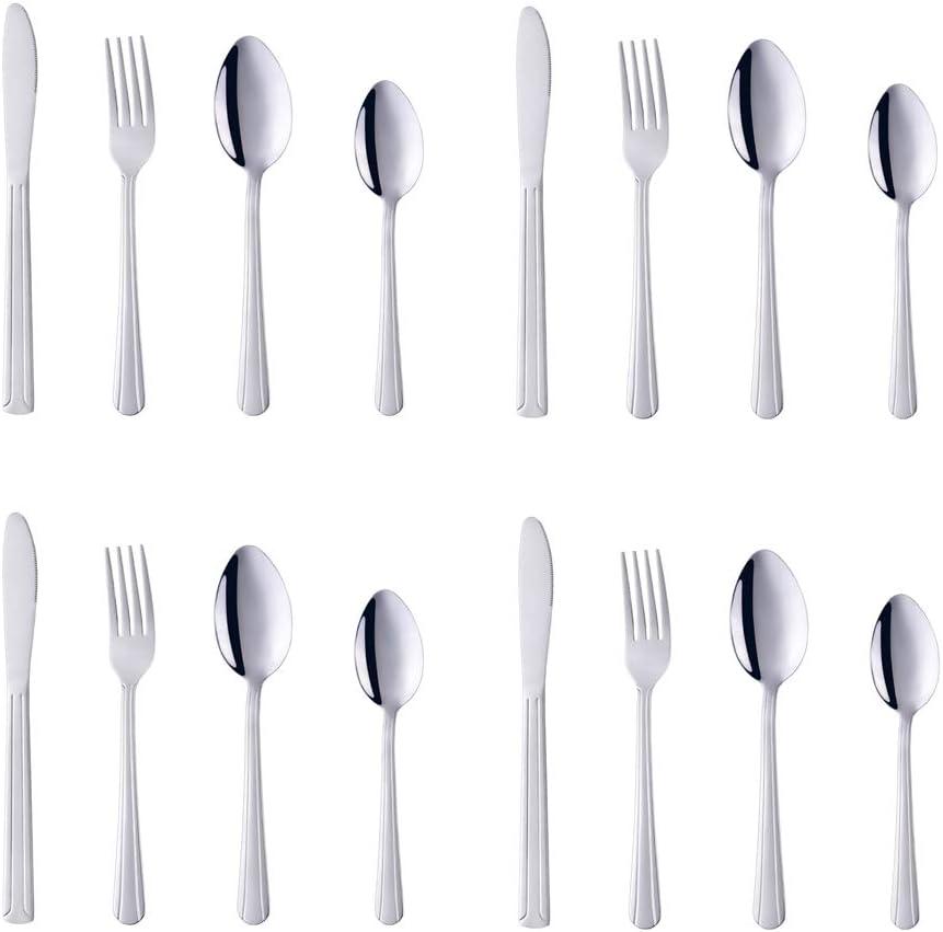 Flatware Set, 16-Piece Silverware Set, BuyGo Stainless Steel Dinnerware Set Service for 4, Mirror Polish & Dishwasher Safe, Silver