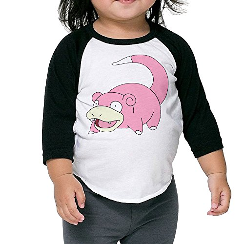 [Pokemon Go Slowpoke Kids 3/4 Sleeve Baseball T Shirts Black] (Slowpoke Costume)