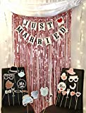 Photo Booth Props Set- Everything You Need Bundle, Includes 3ft by 9 ft Foil Fringe Back Drop Curtain, Just Married Banner & 30+ Wedding Photo Booth Props Set (Rose Gold)