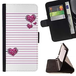 LINES HEART GLITTER STRIPES PINK LOVE WHITE/ Personalizada del estilo del dise???¡Ào de la PU Caso de encargo del cuero del tir????n del soporte d - Cao - For Apple Iphone 5 / 5S