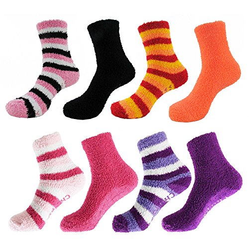 Super Soft Warm Microfiber Fun Fuzzy Comfy Home Socks - Assortment H - 8 Pairs - Value Pack… - 8 Pair Value Pack