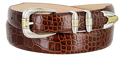 Manila Genuine Italian Leather Designer Dress Golf Belt (Alligator Brown,36)