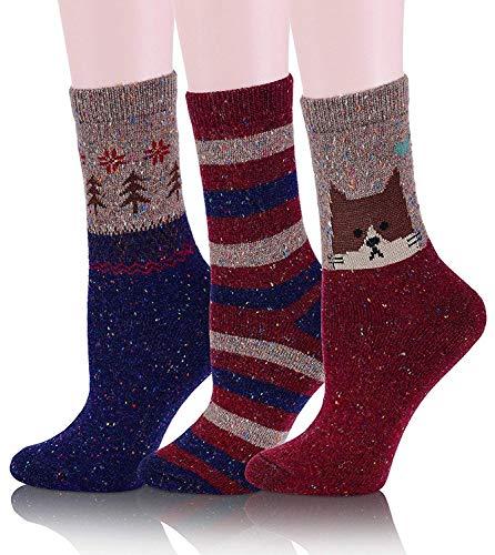 Womens Girls Wool Novelty Socks Cabin Cute Animal Cartoon Funny Casual Soft Cotton Socks 3 Pack (Cat-A)