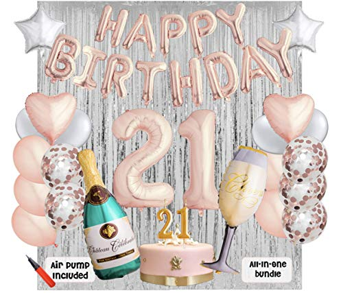 21st Birthday Party Balloons and Decoration Bundle - 43 Pieces Party Supplies and Balloons All in One Set - Rose Gold Happy Birthday Balloons, 21 Number Balloons, Air Pump]()