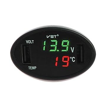 goodqueen vst-708 coche termómetro digital LED – Voltímetro Auto cargador USB recargable Monitor medidor
