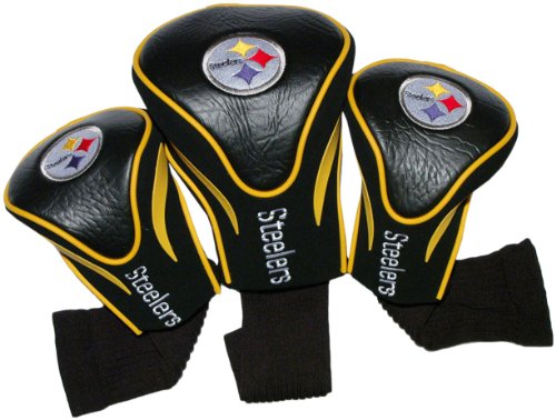 (Team Golf NFL Pittsburgh Steelers Contour Golf Club Headcovers (3 Count), Numbered 1, 3, & X, Fits Oversized Drivers, Utility, Rescue & Fairway Clubs, Velour lined for Extra Club Protection)