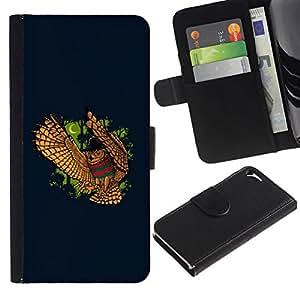 All Phone Most Case / Oferta Especial Cáscara Funda de cuero Monedero Cubierta de proteccion Caso / Wallet Case for Apple Iphone 5 / 5S // FUNNY - NIGHT OWL