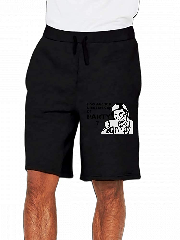 How About A Nice Hot Cup of Party Mens Casual Shorts Pants