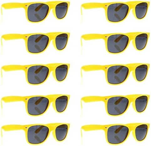 SCLM Wayfarer 80's Style Sunglasses 10 Bulk Pack Lot Neon Color Party Glasses