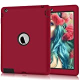 iPad 2 Case, iPad 3 Case, iPad 4 Case, Hocase Rugged Slim Shockproof Silicone Rubber+Hard Plastic Dual Layer Protective Case Cover for 9.7' iPad 2nd/3rd/4th Generation - Red/Black