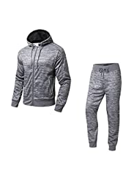 AIRAVATA Men's Sport Zipper Hoodie Sweatshirt Jogger Pants Fitness Tracksuit Set