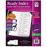 Avery Ready Index Table of Contents Dividers, Black/White, 12-Tab Set (11140)