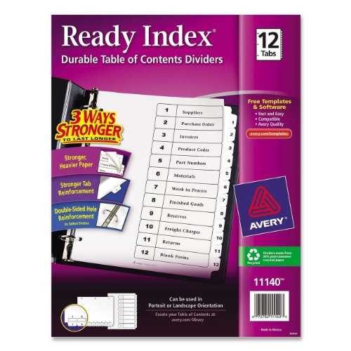 Avery Ready Index Table of Contents Dividers, Black/White...