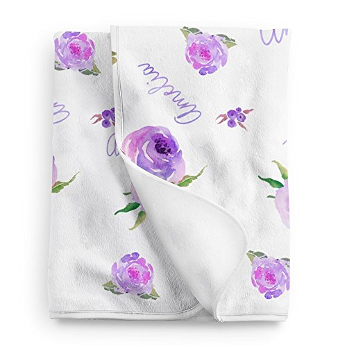 Lovable Gift Co Personalized Fleece Baby Girl Blanket, Purple Floral