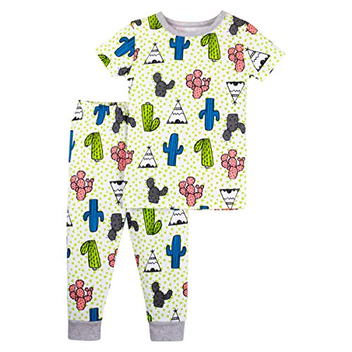 (LAMAZE Organic Baby Boys' Toddler 2 Piece Sleepwear, Green Cactus 3T)