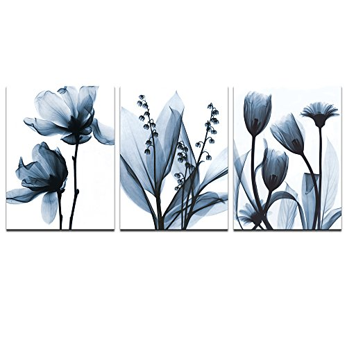 (sechars - Modern Canvas Art Wall Decor,Blue Flower Picture Printed on Canvas Painting,Abstract Floral Artwork Bedroom Decoration,Stretched and Framed Ready to Hang)