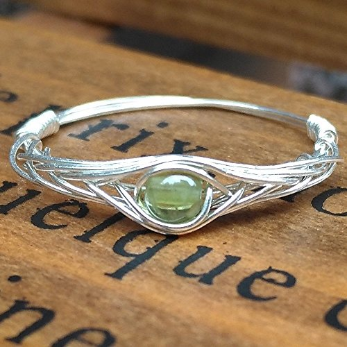 7(5-12 Available) Natural Peridot 925 Sterling Silver String Winding Gemstone Ring Women Original Handmade by GRB ROY