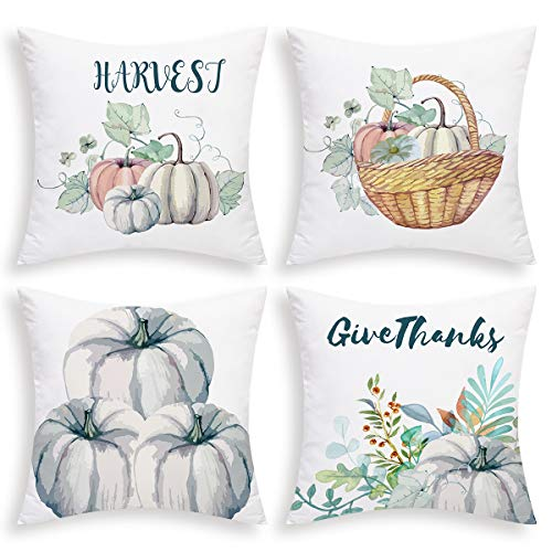 BLEUM CADE Autumn Pumpkin Throw Pillow Covers Fall Pillow Covers Set of 4 Thanksgiving Day Cushion Covers for Sofa Bed Chair Car Office (Blue-gray, 18 X 18 Inch )
