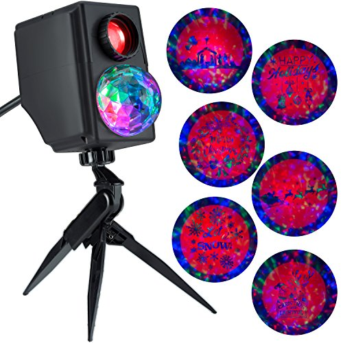 Gemmy Lightshow Projection Plus Slideshow Kaleidoscope Silhouette Happy Holidays / Santa in Sleigh with ReindeerIndoor/Outdoor Holiday ()